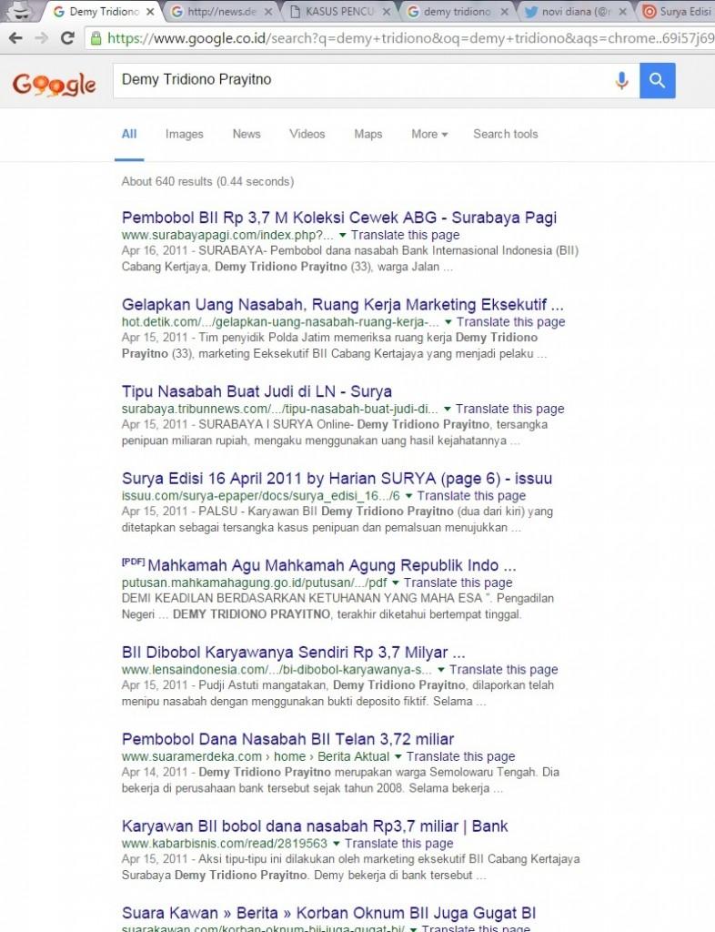 demy tridiono prayitno kasus kriminal penipuan penggelapan dana nasabah BII Surabaya 2011 google